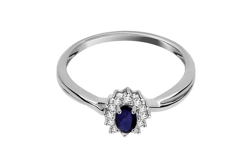 Safírový prsten JEYNE 9 s diamanty 0,110 ct KU0026
