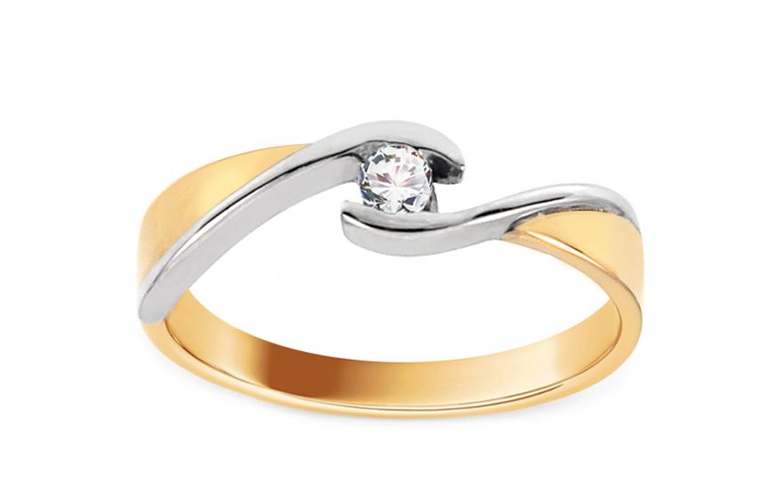 Zlatý zásnubní prsten se zirkonem Magic 4 CSRI1375