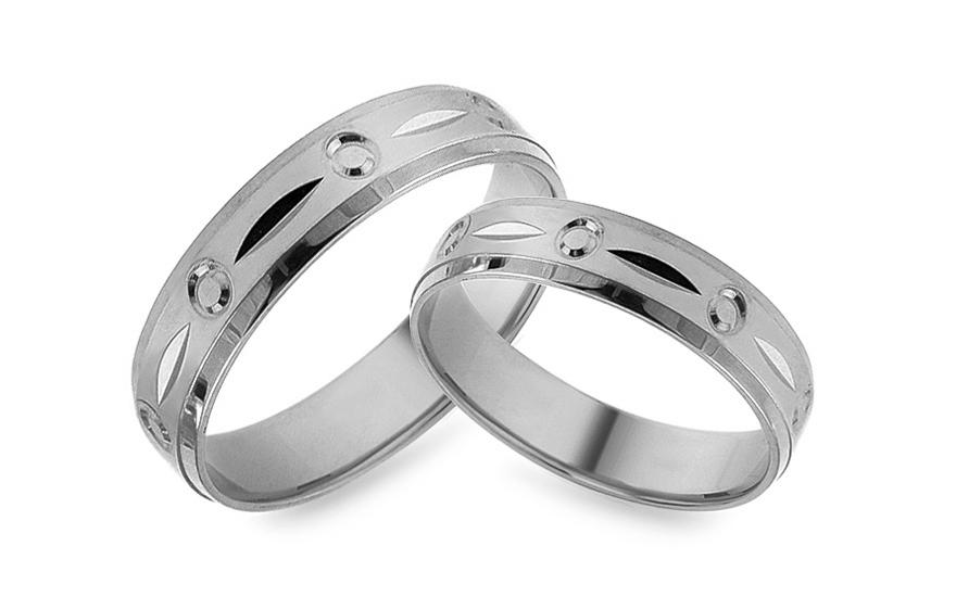 Snubni Prsteny Z Bileho Zlata S Gravirovanim Sirka 5 Mm Izob476a
