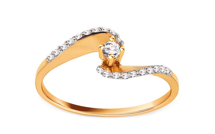 Zlatý zásnubní prsten Pretty 12 CSRI2060
