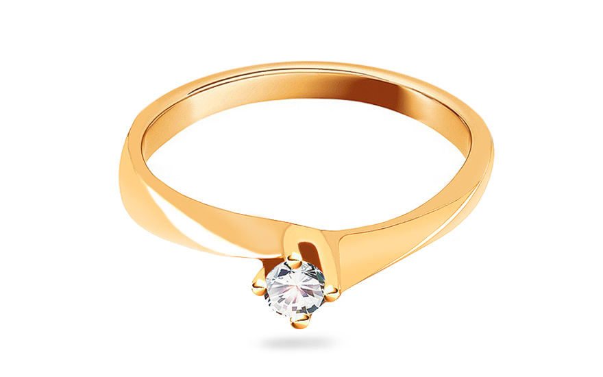 Zlatý zásnubní prsten Princess 15 se zirkonem CSRI2069