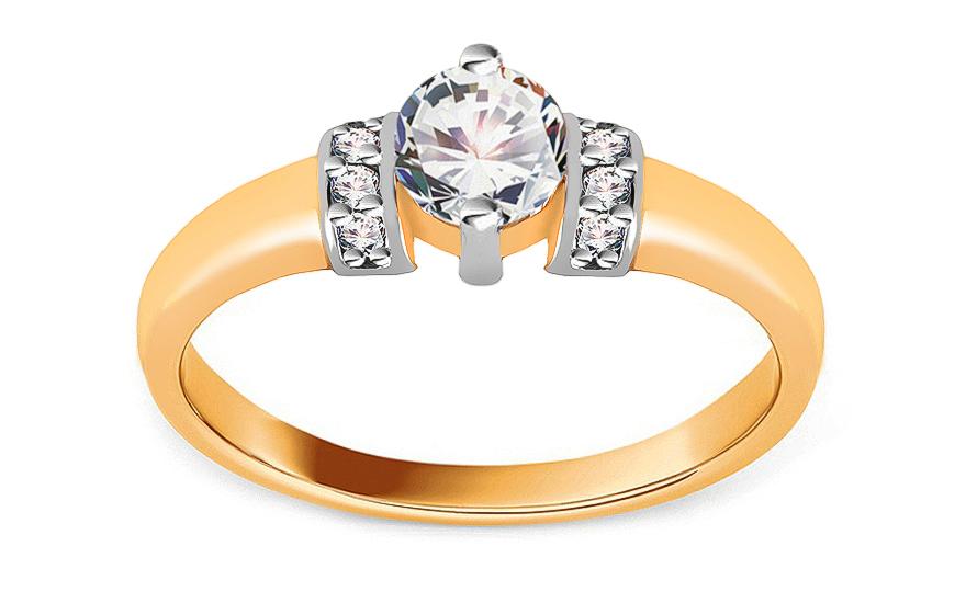 Zlatý zásnubní prsten Isar 10 CSRI1280