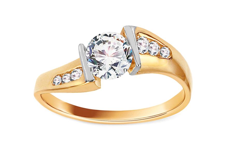 Zlatý zásnubní prsten Isar 12 CSRI246