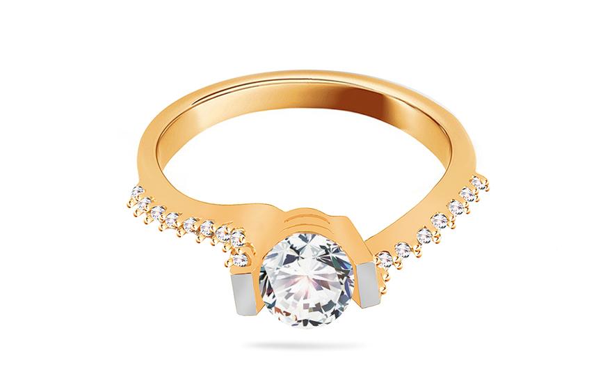 Zlatý zásnubní prsten Isar 16 CSRI798