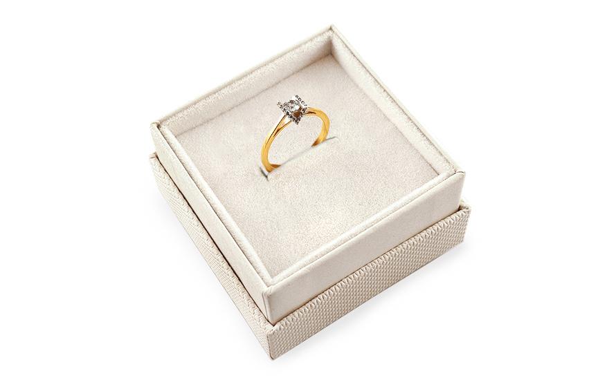 Zlatý zásnubní prsten se zirkony Magic 9 CSRI2054