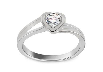 Zásnubní prsten s diamantem 0,140 ct Sweet Heart white
