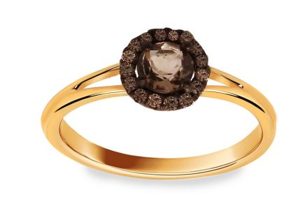 Zásnubní prsten s 0,100 ct diamanty Brown dream