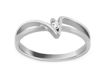 Zásnubní prsten Of love s briliantem 0,030 ct white