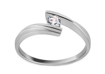 Zásnubní prsten s diamantem Combination of love 0,110 ct white