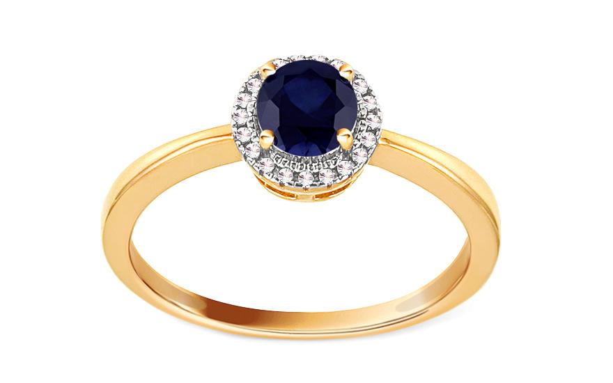 Zásnubní zlatý prsten s diamanty 0,040 ct a safírem Sheina KU728