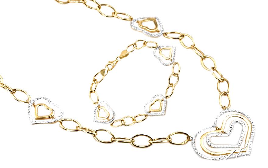 Zlatá dámská souprava srdce FRANCOISE 11 IZ4915