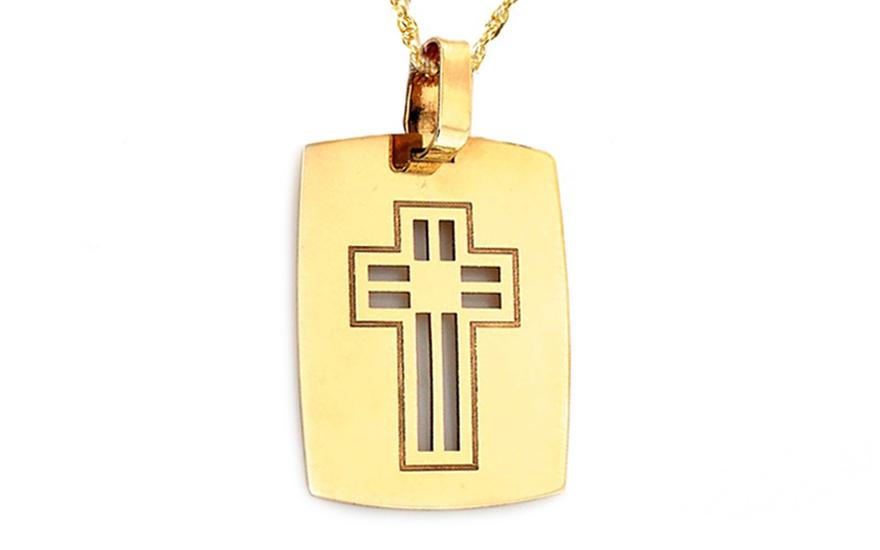 Zlatá destička s vyřezávaným křížkem IZ9045