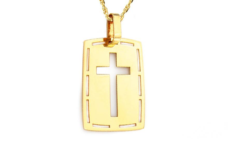 Zlatá destička vyřezávaný křížek IZ9039
