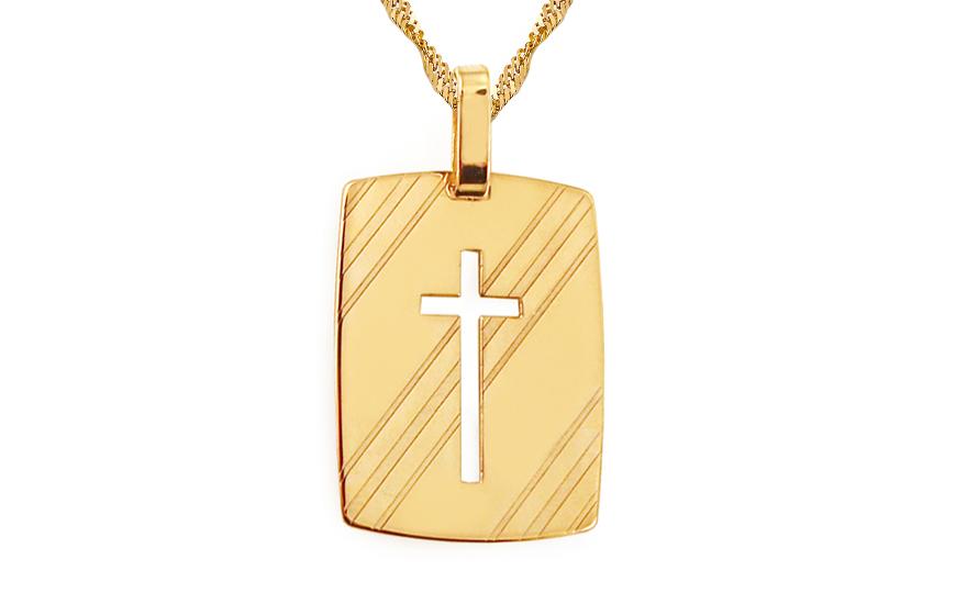 Zlatá destička vyřezávaný křížek IZ9042