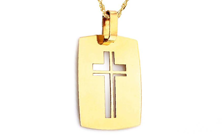 Zlatá destička vyřezávaný křížek IZ9048