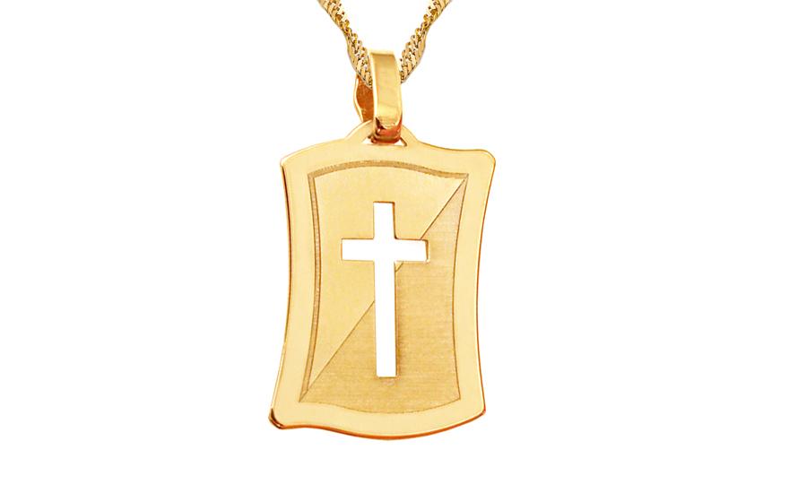 Zlatá matovaná destička s vyřezávaným křížkem IZ9041