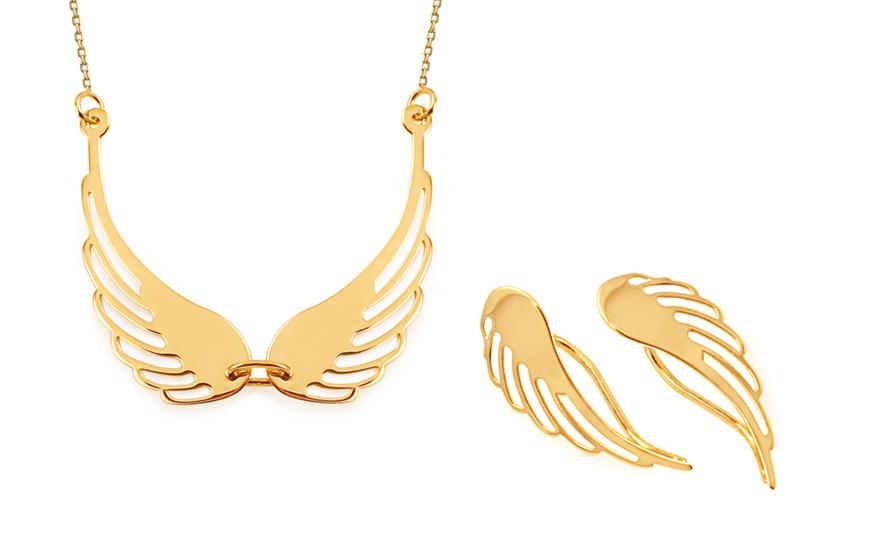 Zlatá souprava andělská křídla IZ11538S