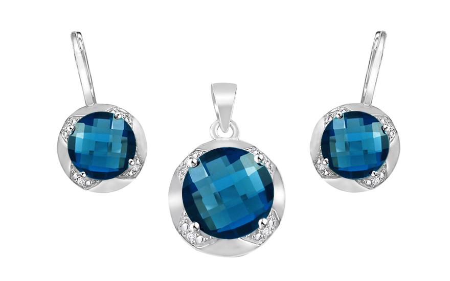 Zlatá souprava s diamanty a London Blue topasem Keera KU475S