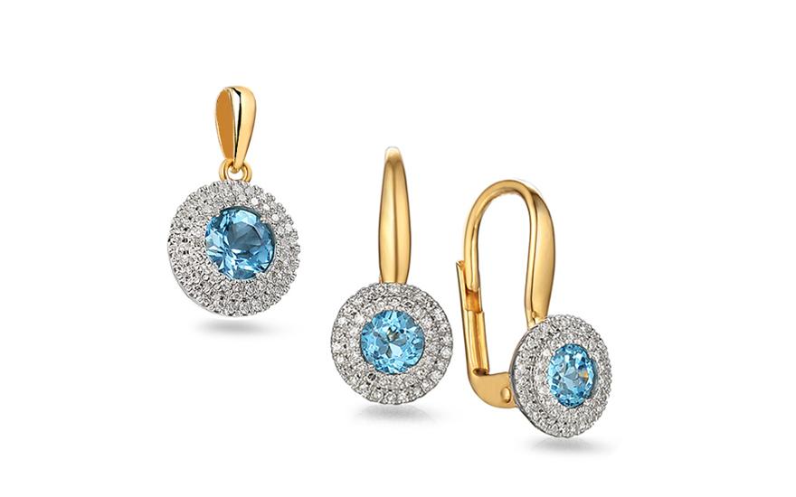 Zlatá souprava s topasem a diamanty Madeleine IZBR139YTS