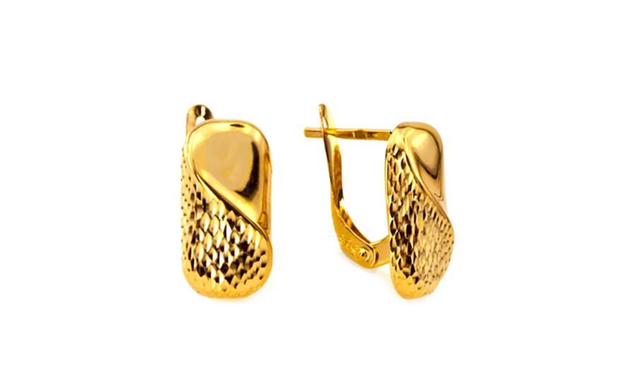 Zlaté dámské náušnice gravírované IZ6184