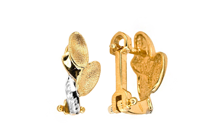 Zlaté dámské náušnice Listy IZKA288