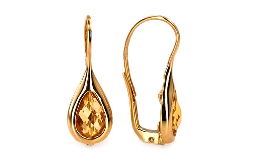 Zlaté dámské náušnice s citrínem Francessca IZ6245