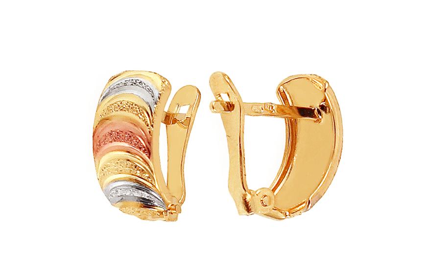 Zlaté dámské náušnice tříbarevné IZ2410