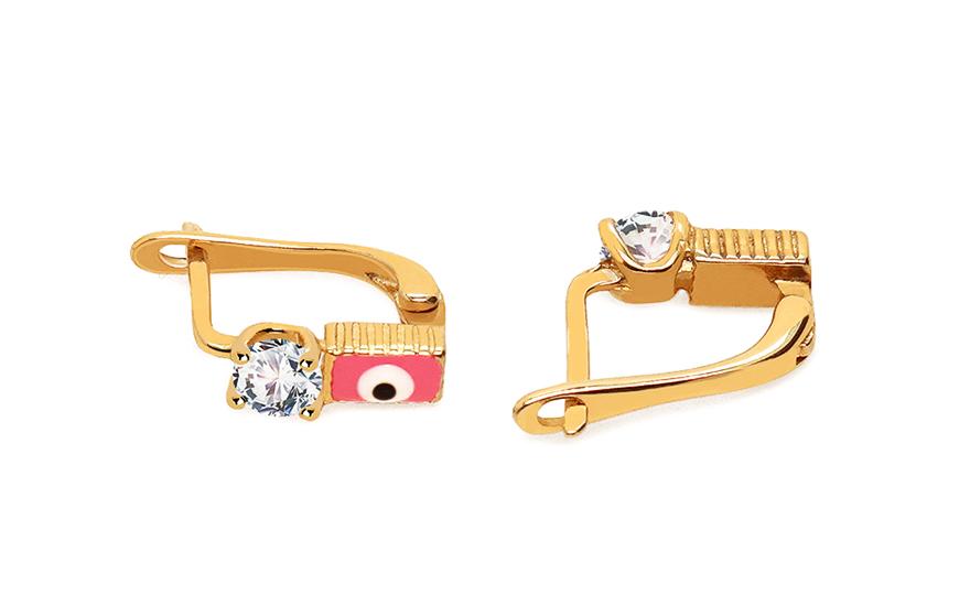 Zlaté dětské náušnice s kamínkem IZ5009