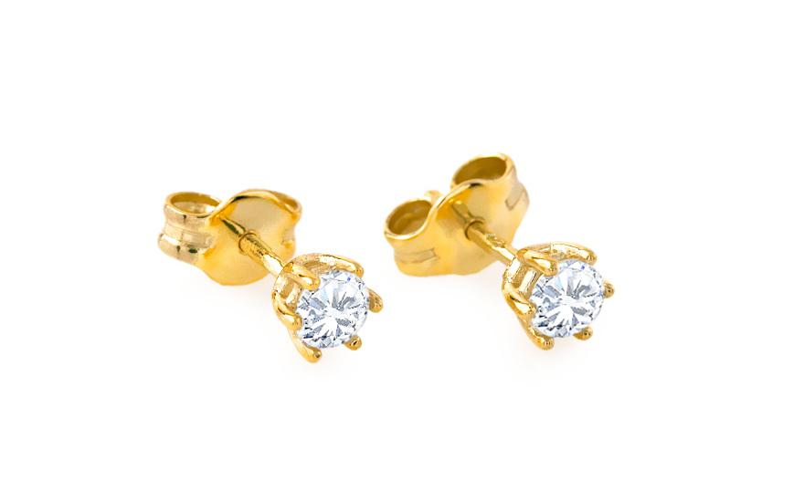 Zlaté dětské náušnice s kamínkem 1-236-0600