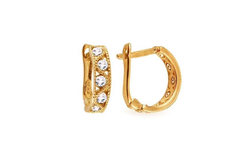 Zlaté dětské náušnice s kamínky IZ4206Y