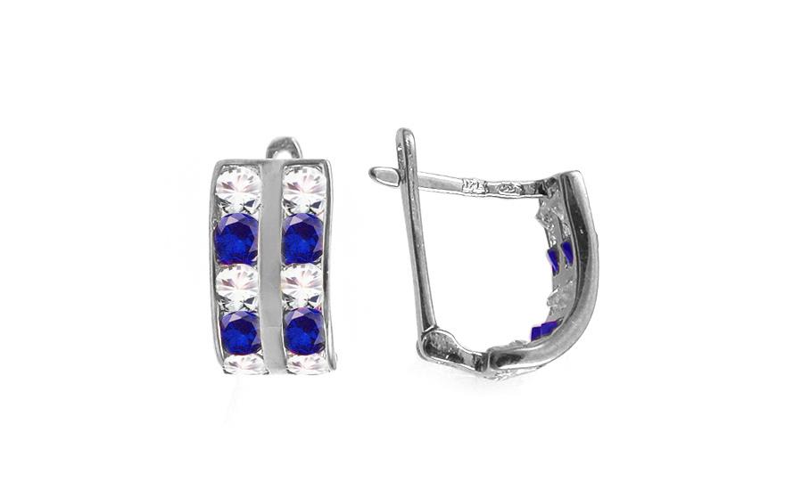 Zlaté dětské náušnice s modrými kamínky IZ10357A