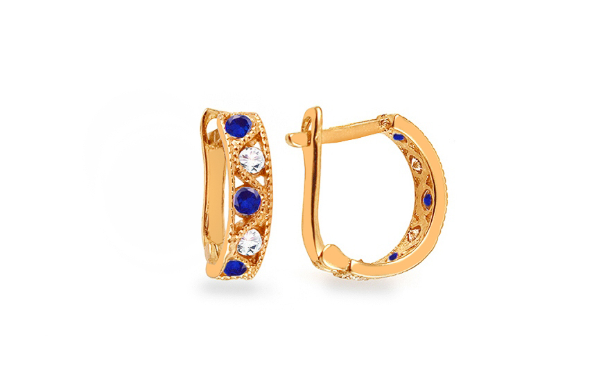 Zlaté dětské náušnice s modrými kamínky IZ4206Z