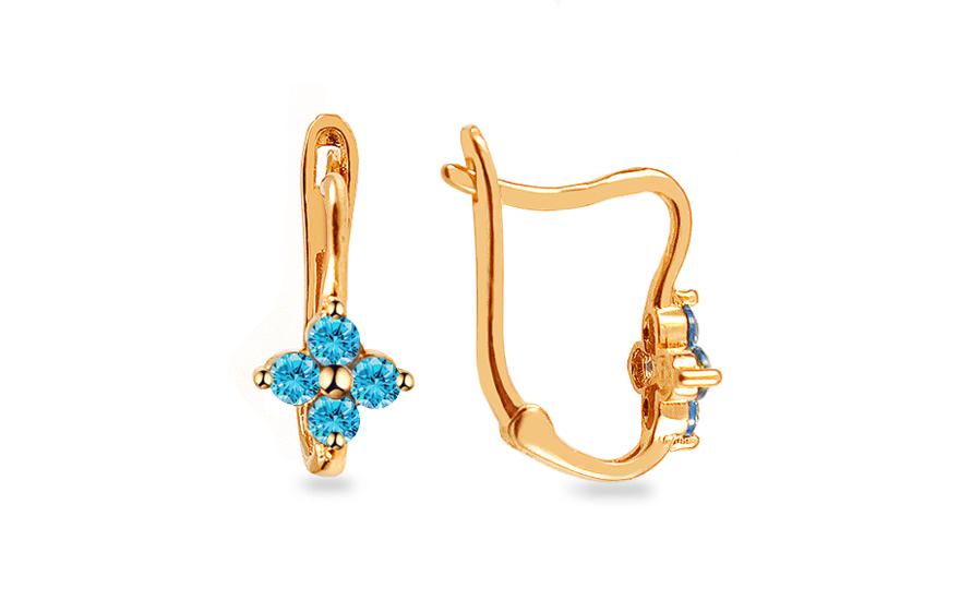 Zlaté dětské náušnice s modrými kamínky IZ13496