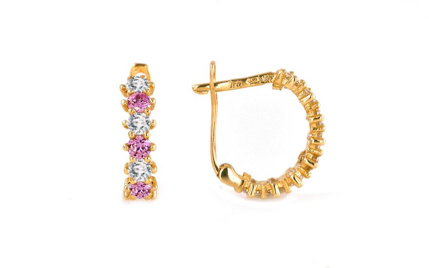 Zlaté dětské náušnice s růžovými kamínky IZ7894