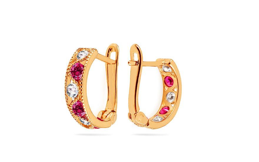 Zlaté dětské náušnice s růžovými kamínky IZ4206R