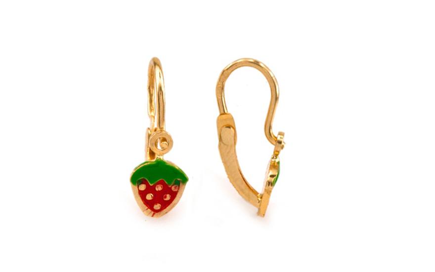 Zlaté dětské náušnice Strawberry IZ6902