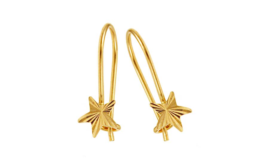 Zlaté dívčí náušnice hvězdy IZ10187