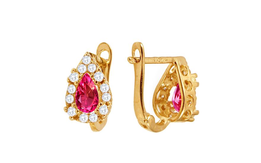 Zlaté dívčí náušnice kapky s růžovými kamínky IZ10370RU
