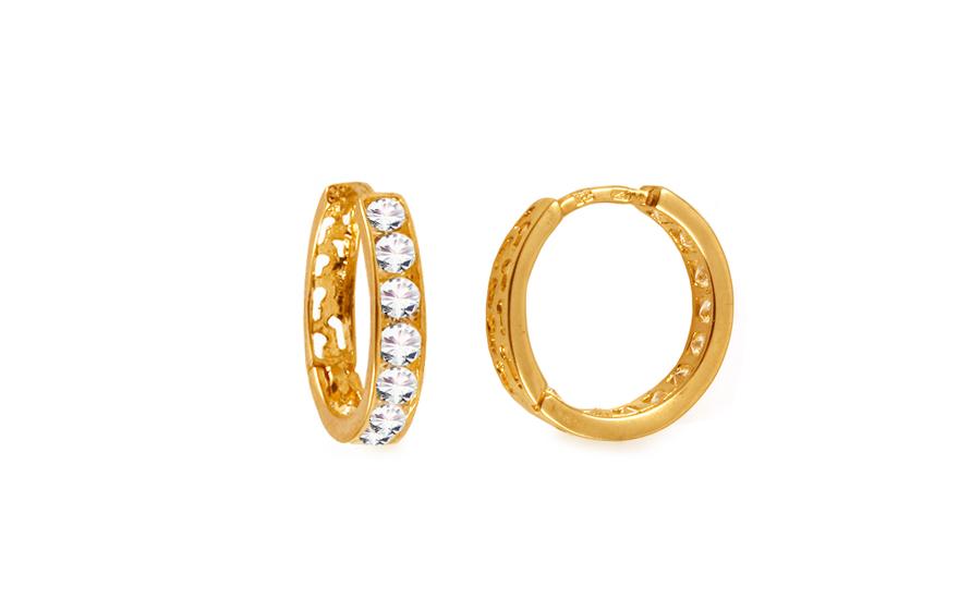Zlaté dívčí náušnice kroužky s kamínky 1,4 cm IZ10367