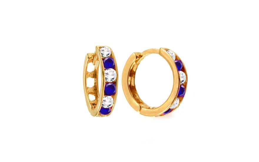 Zlaté dívčí náušnice kroužky s modrými kamínky 1,2 cm IZ10368Z