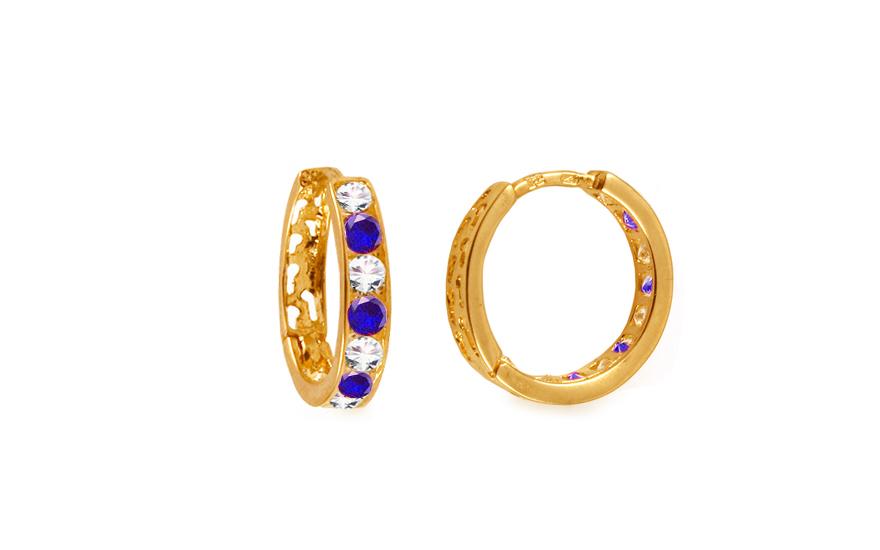 Zlaté dívčí náušnice kroužky s modrými kamínky 1,4 cm IZ10367Z