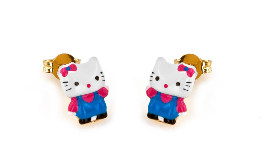 Zlaté dívčí náušnice s kočičkou IZ6199