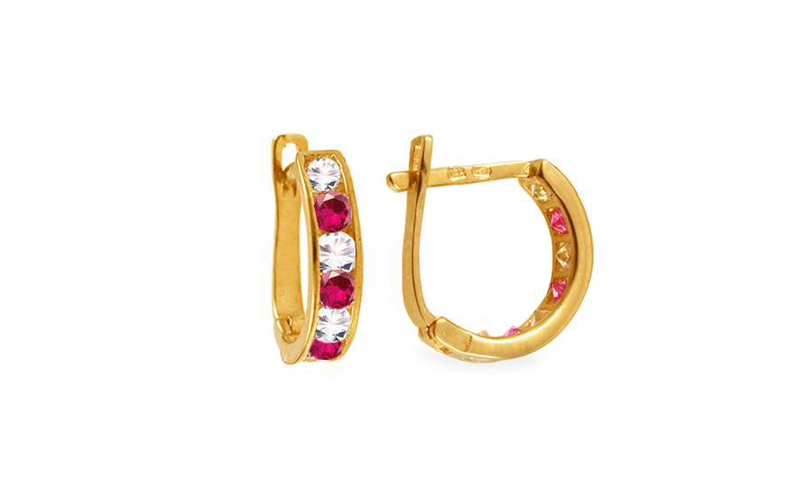 Zlaté dívčí náušnice s růžovými kamínky IZ4176RU
