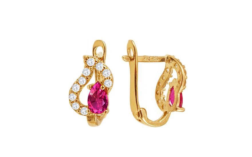 Zlaté dívčí náušnice s růžovými kamínky IZ10371