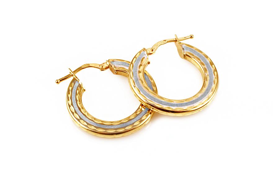 Zlaté dvoubarevné náušnice kruhy IZ9942
