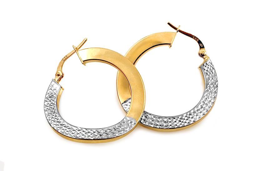 Zlaté dvoubarevné náušnice kruhy 2,8 cm IZ10302