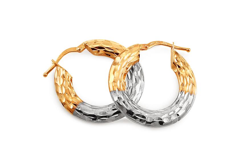 Zlaté dvoubarevné náušnice kruhy s gravírováním 2,5 cm IZ13098