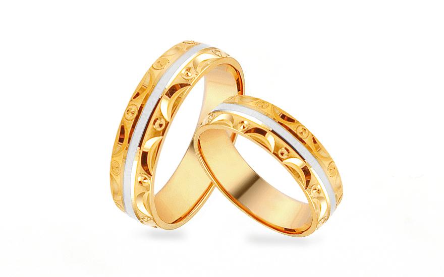 Zlaté dvoubarevné snubní prstýnky se vzorem, šířka 5 mm IZOB449YW
