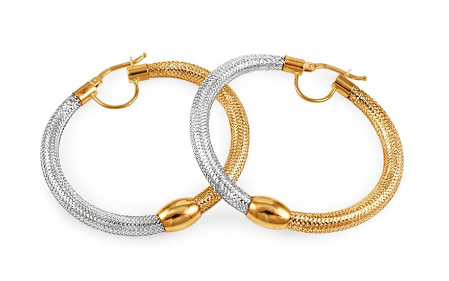 Zlaté kombinované náušnice kruhy Flexi 4,3 cm IZ9985