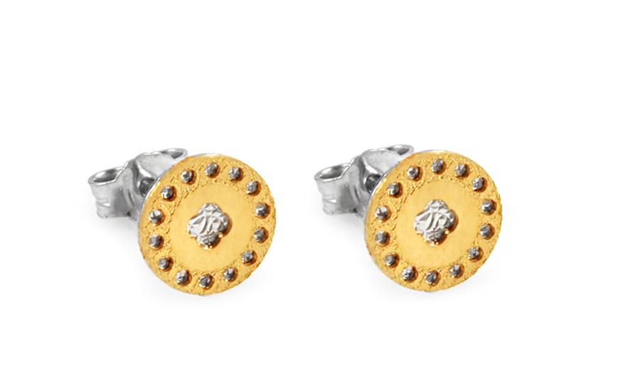 Zlaté kombinované náušnice pecky IZ9988